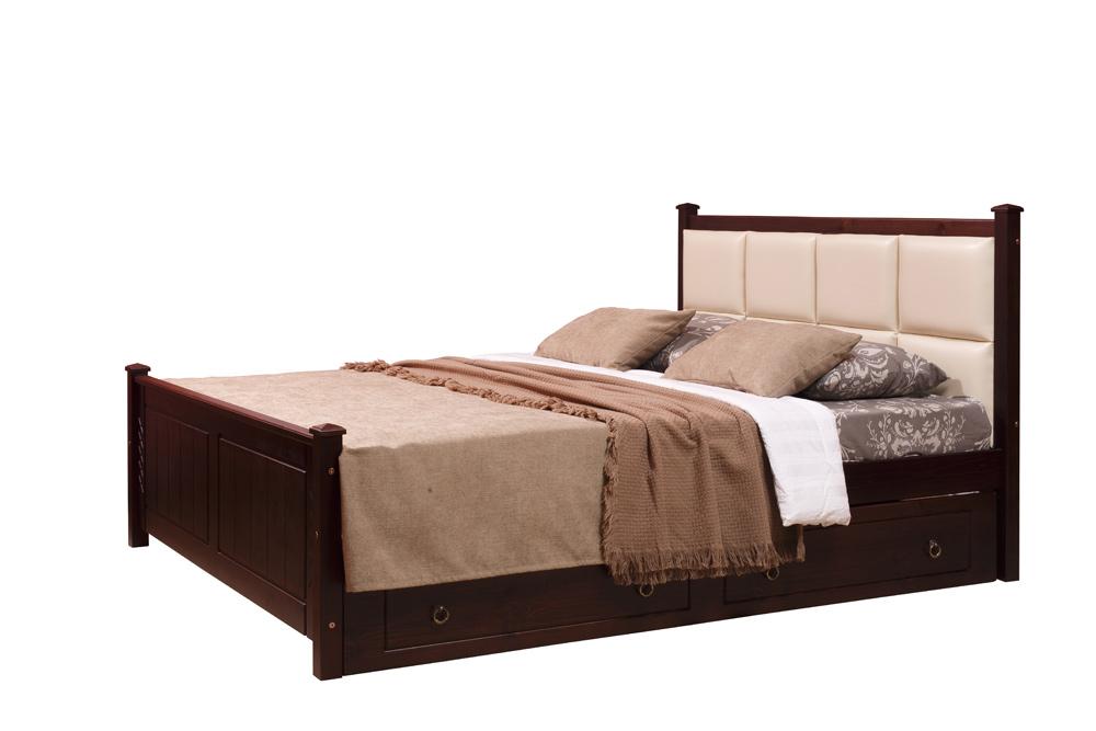 двуспальная кровать с мягким изголовьем дания 1 140х190см и двумя
