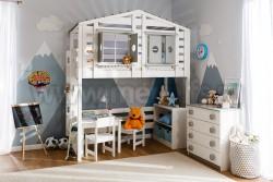 Детская кровать чердак домик №1 из массива