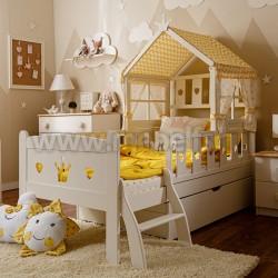 Кровать-домик принцесса 80х180 с ящиком из массива