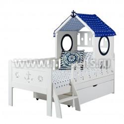 Кровать-домик морячок 80х160 с ящиком из массива
