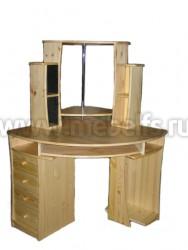 Угловой компьютерный стол из массива сосны (с надстройкой).