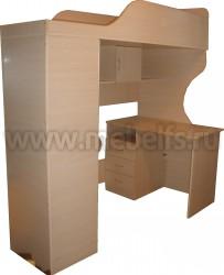 Кровать чердак Квартет-2 с рабочей зоной и лестницей-ящиками (ДМ).