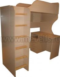 Кровать чердак Квартет-2 с рабочей зоной и лестницей (ДМ).