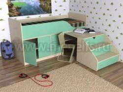 Кровать чердак с рабочей зоной Кузя-2 (ДМЗ).