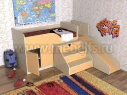 Кровать чердак с рабочей зоной и горкой Кузя (ДМО).