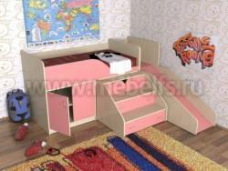 Кровать чердак с рабочей зоной и горкой Кузя (ДМР).