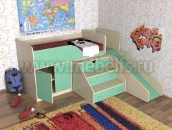 Кровать чердак с рабочей зоной и горкой Кузя (ДМЗ).