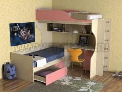 Двухъярусная кровать с диваном Дуэт-5 (ДМР).