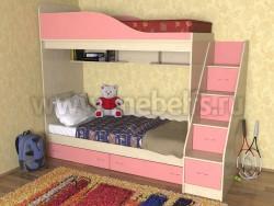 Кровать двухъярусная с лестницей-ящиками Дуэт (ДМР).
