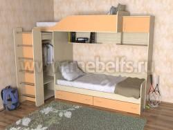 Двухъярусная кровать со шкафом Дуэт-3 (ДМО).