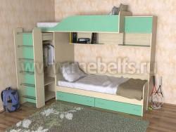 Двухъярусная кровать со шкафом Дуэт-3 (ДМЗ).