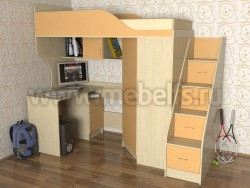 Кровать чердак Квартет-2 с рабочей зоной и лестницей-ящиками (ДМО).