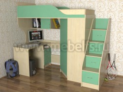 Кровать чердак Квартет-2 с рабочей зоной и лестницей-ящиками (ДМЗ).