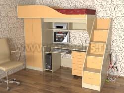 Кровать чердак с рабочей зоной и ступенями Квартет (ДМО).