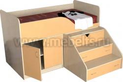 Детская кровать чердак с рабочей зоной Кузя (ДМО).
