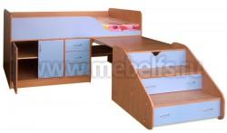 Кровать чердак с рабочей зоной Кузя-2 (БС).