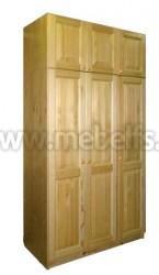 Шкаф Оскар-3 трехдверный с антресолью 51см из сосны