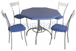 Обеденный восьмигранный стол Дуолит-металлик (1000х1000)