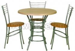 Стол круглый обеденный Дуолит-металлик (800)