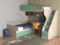 Двухъярусная кровать с диваном Дуэт-5.2 (ДМЗ).