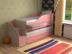 Двухъярусная кровать для двоих детей Дуэт-8 (ДМР).