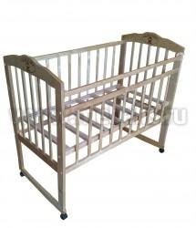 Кроватка для новорожденного Ника с выжигом (колесо+качалка).