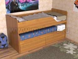 Детская двухъярусная выдвижная кровать с ящиками Дуэт-2 (О).