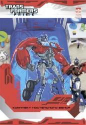 Детское постельное белье из хлопка Transformers на синем.