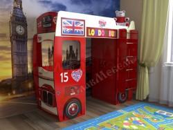 Детская кровать-чердак автобус (красная).