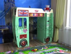 Детская кровать-чердак автобус (зеленый).