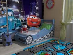 Детская кровать машинка 70х160 (синяя).
