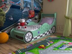 Детская кровать машинка 70х160 (зеленая).