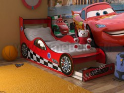 Кровать машинка 70х160 с ящиком (красная).