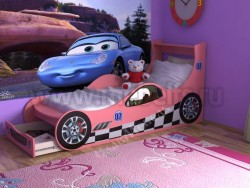 Кровать машинка 70х160 с ящиком (розовый).