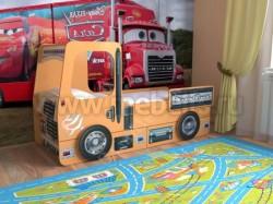 Кровать машинка грузовик 70х160см с ящиками (оранжевый).