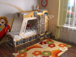 Детская двухъярусная кровать Паровозик с ящиками (оранжевый).
