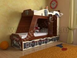 Детская двухъярусная кровать Паровозик с ящиками (Я/В).