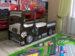 Кровать машинка грузовик 80х190см с ящиками (венге).