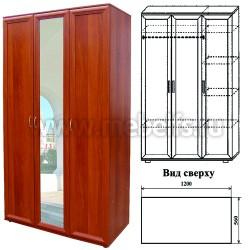 Шкаф для одежды трехстворчатый с зеркалом (арт.433)