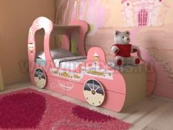 Детская кровать карета 70х160 с ящиками (розовый).
