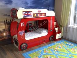 Двухъярусная кровать Автобус-2 с лестницей-ящиками (красный).
