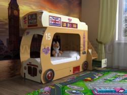Двухъярусная кровать Автобус-2 с лестницей-ящиками (оранжевый).