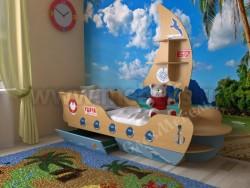 Детская кровать корабль 70х160см (бук/синий).