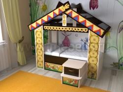 Детская кровать теремок с ящиком (дмв).