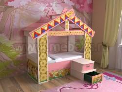 Детская кровать теремок с ящиком (дмр).