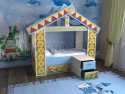 Детская кровать теремок 70x160 с ящиком (дмс).