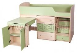 Кровать чердак с рабочей зоной Фунтик (дуб молочный/ салатовый).
