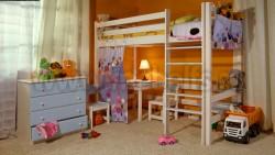 Кровать чердак Классика №2 (90x190см) из массива сосны.