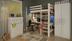 Кровать чердак Классика №3 (90x190см) из массива сосны.