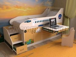 Кровать-чердак самолет 80х190 с ящиками (ДМО)